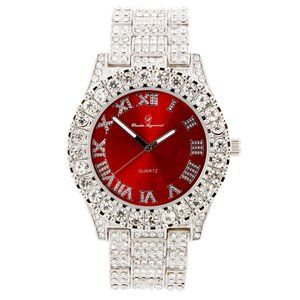 Bling-ed Out Round WatchST10327Roman Silver/Red
